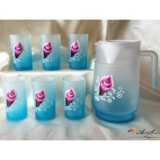 Комплект чаши и кана рисувано стъкло