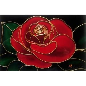 """Стъклопис """"Червена роза"""""""