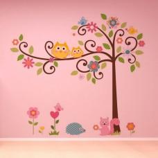 "Детски стикер за стена ""Бухалчета на дърво"""