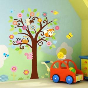 "Детски стикер за стена ""Бухалчета на дърво 2"""