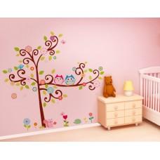 "Детски стикер за стена ""Бухалчета на дърво 3"""