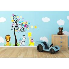 """Детски стикер за стена """"Животни и дърво"""""""