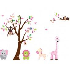 """Детски стикер за стена """"Дърво и животни 2"""""""