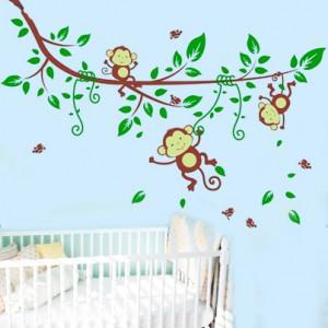 """Детски стикер за стена """"Маймунки на клон"""""""