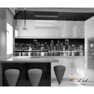 Стикер пано за кухня - Град 1 в черно-бяло