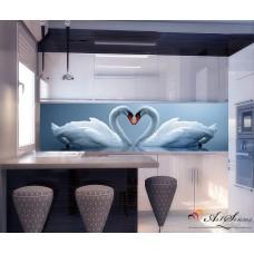 Стикер за кухня пано - Лебеди