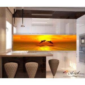 Стикер за кухня пано - Делфини златни