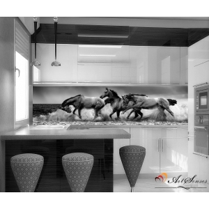 Стикер пано за кухня - Коне в черно и бяло