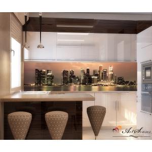 Стикер пано за кухня - Град  Сингапур цвят Мока
