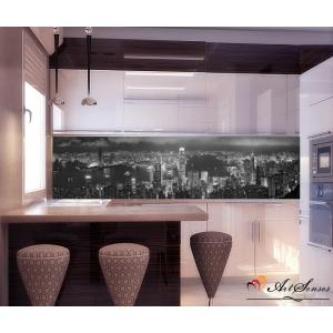 Стикер пано за кухня - Град Хонг Конг Ч&Б