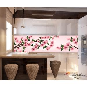Стикер пано за кухня - Вишневи цветове 3