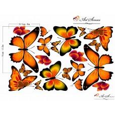 "Стикер за стена ""Пеперуди оранжеви"""